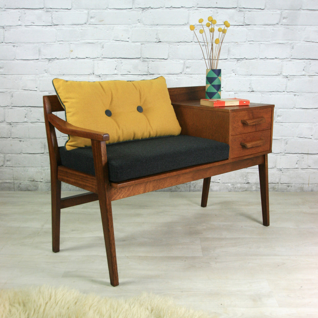 Vintage teak 1960s telephone seat mustard vintage for 1960s furniture designers