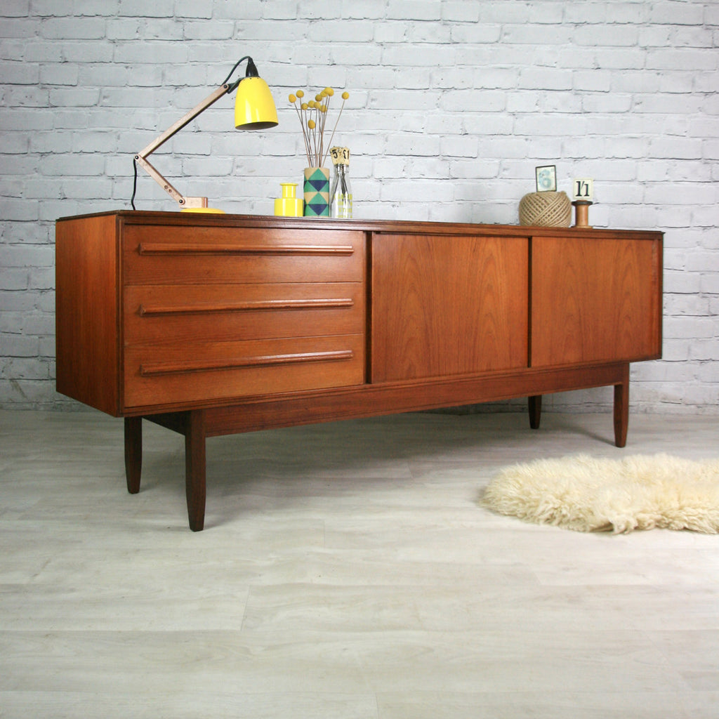 vintage mid century white newton teak sideboard. Black Bedroom Furniture Sets. Home Design Ideas