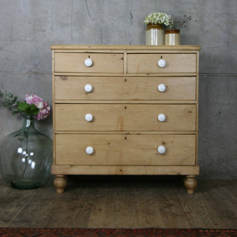 Large Victorian Rustic Pine Chest of Drawers