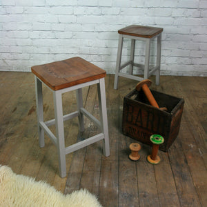 Pair of vintage restored school laboratory stools