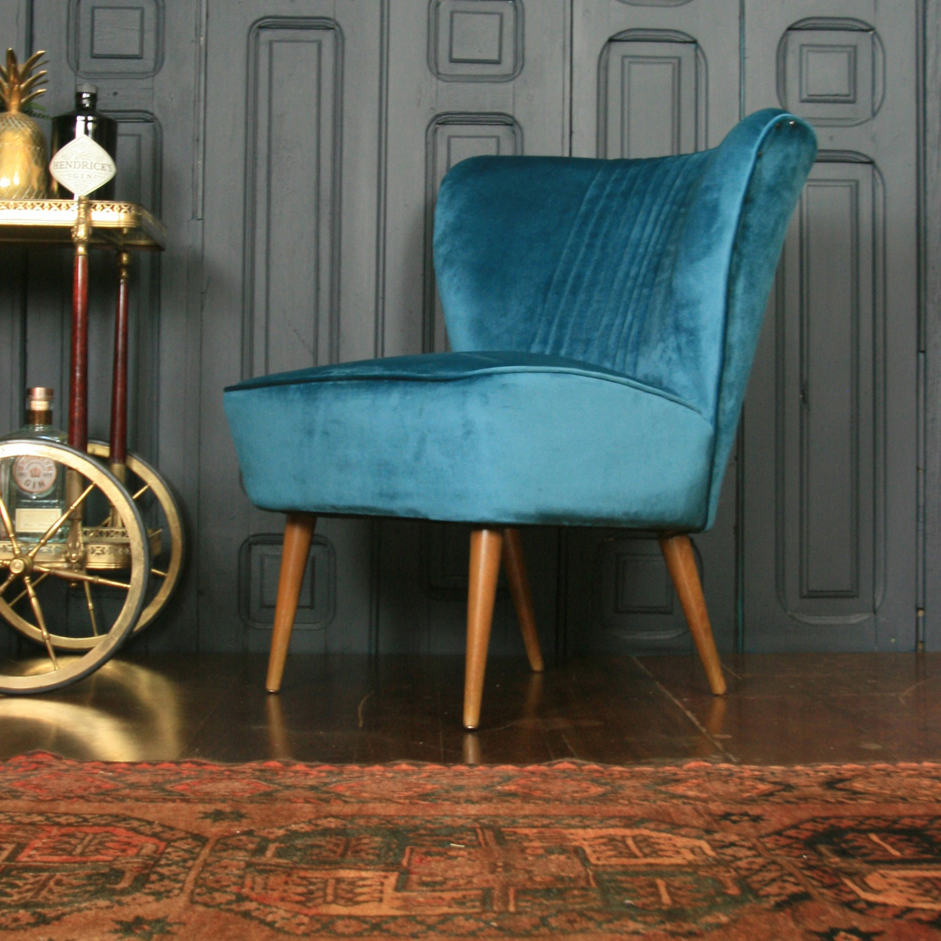 Brilliant Mid Century Bartholomew Cocktail Chair Teal Velvet Download Free Architecture Designs Scobabritishbridgeorg