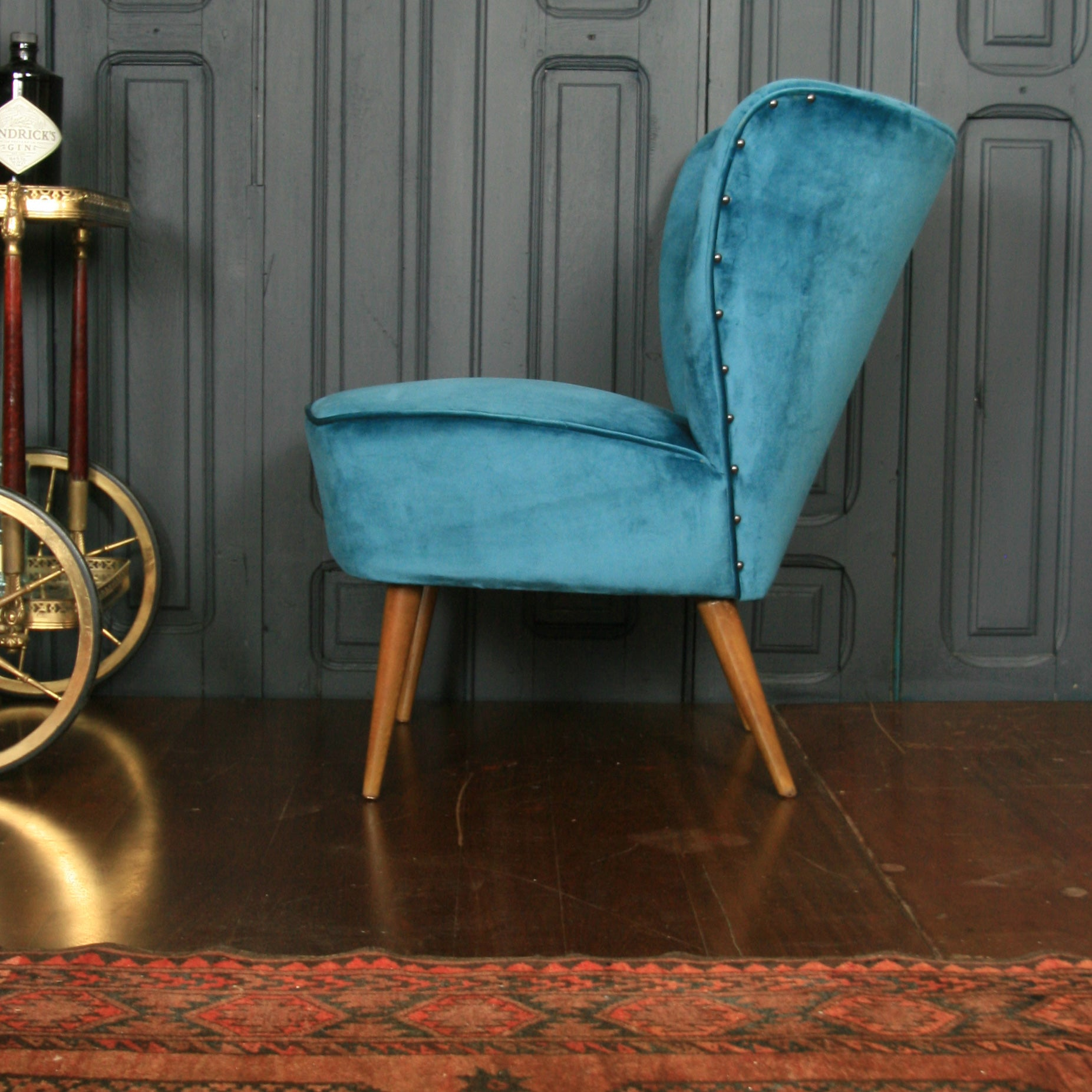 Pleasing Mid Century Bartholomew Cocktail Chair Teal Velvet Download Free Architecture Designs Scobabritishbridgeorg