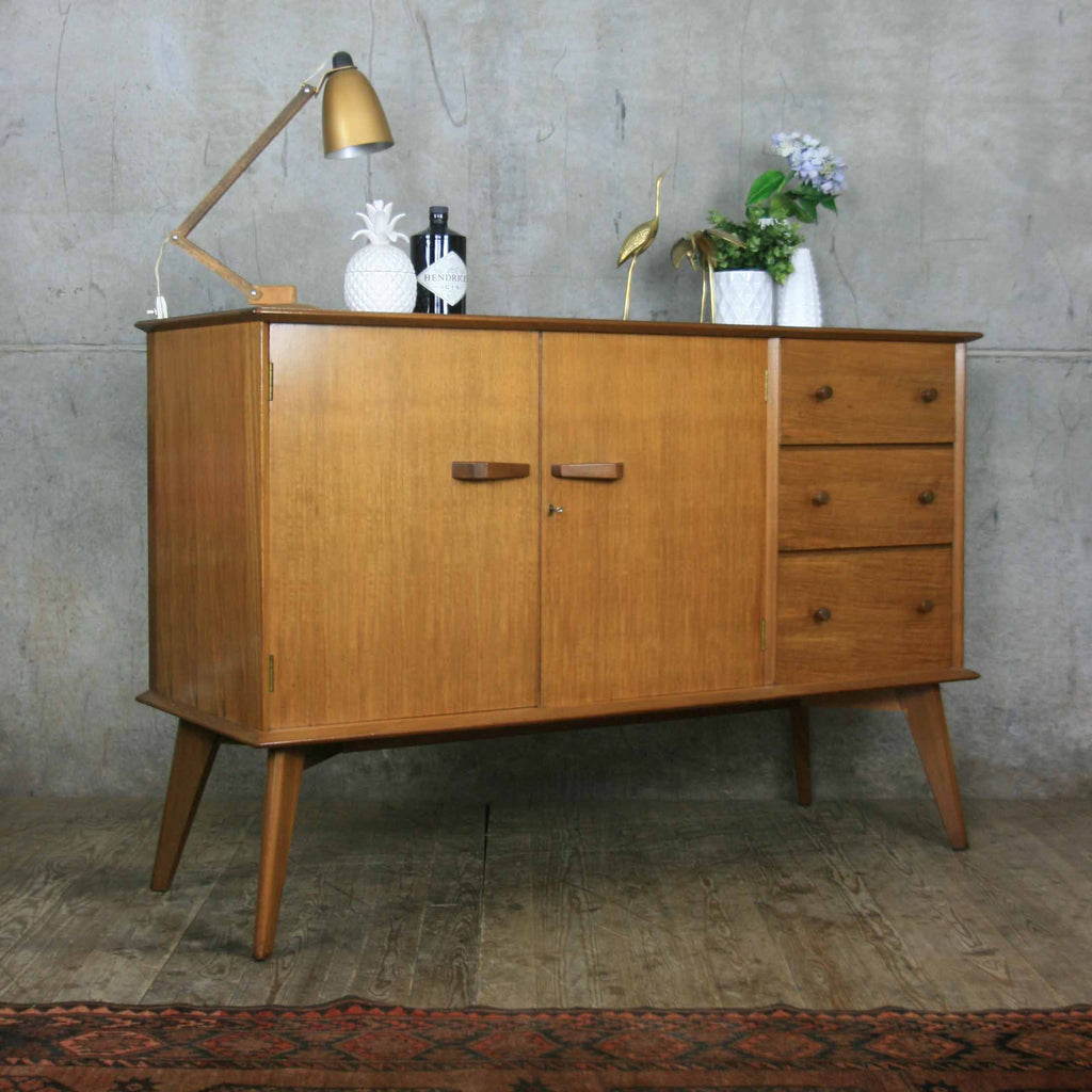 mid century walnut sideboard mustard vintage. Black Bedroom Furniture Sets. Home Design Ideas