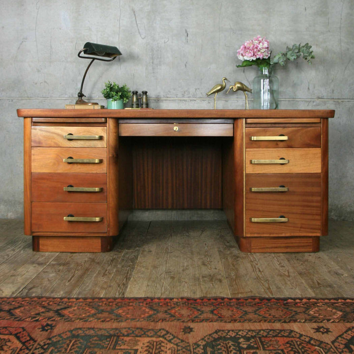 Vintage Art Deco Large Twin Pedestal Desk