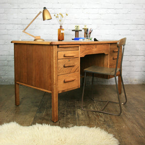 Vintage Abbess Oak School Teachers Desk