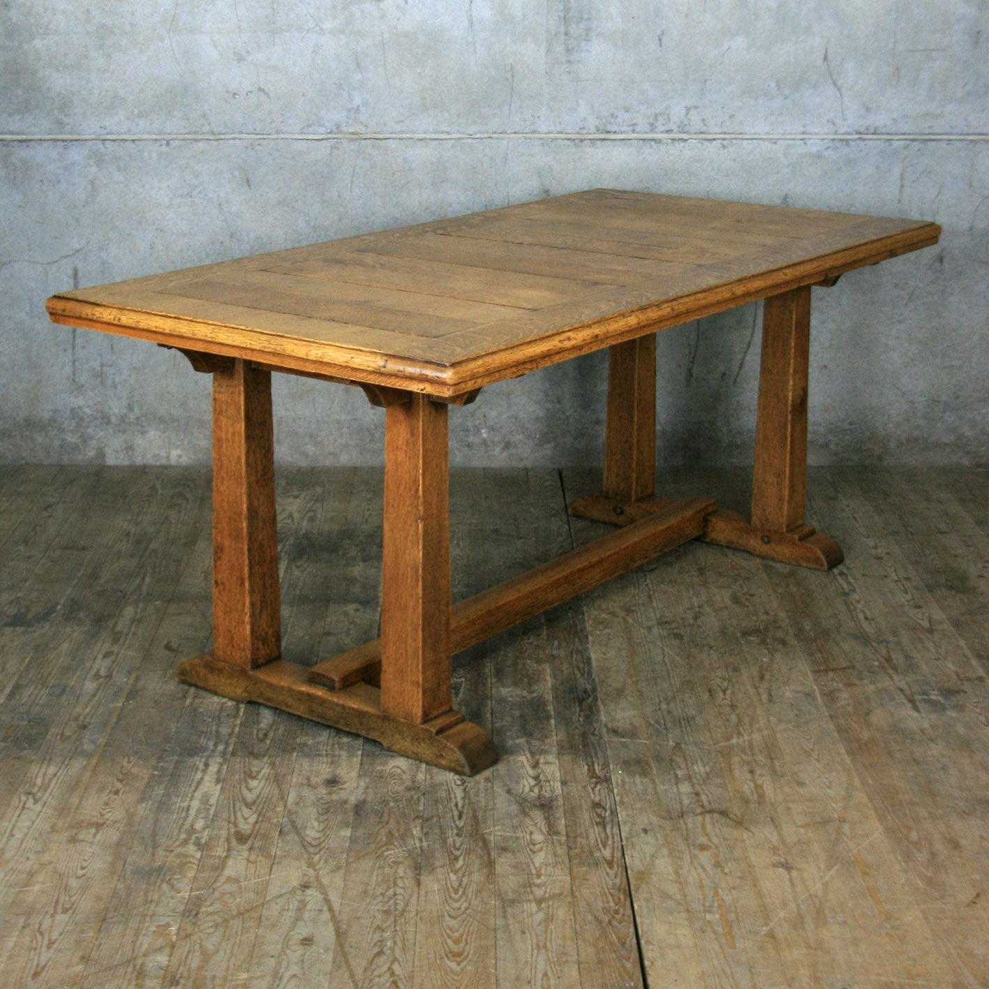 san francisco 38ab1 3a206 Vintage 1920'S Heals Oak Dining Table – Mustard Vintage