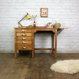 Edwardian ERVIII Vintage Oak Drop Leaf Desk (2 of 2)