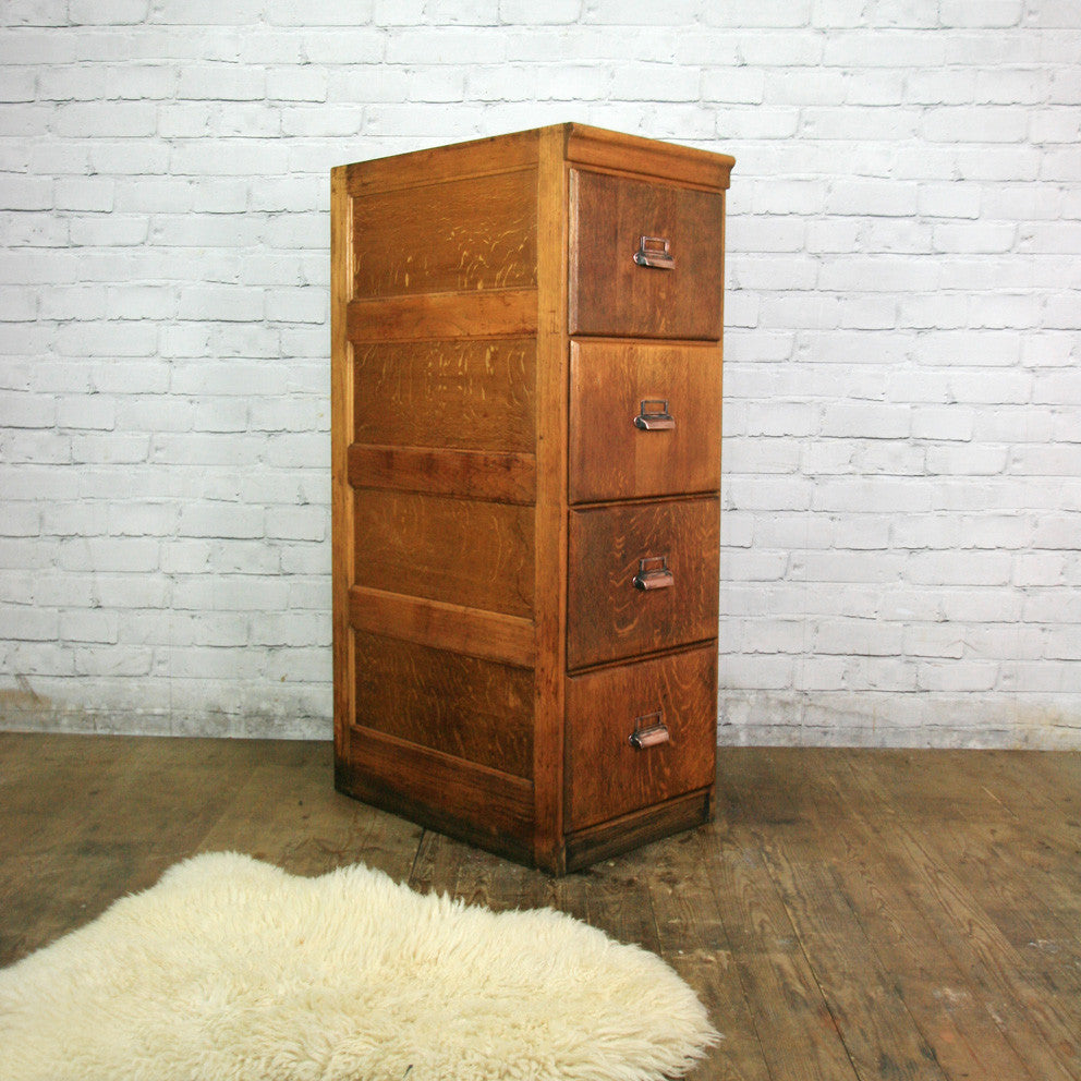 Edwardian Oak 4 Drawer Filing Cabinet - Mustard Vintage