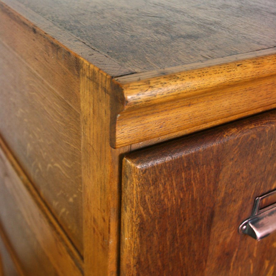 Edwardian Oak 4 Drawer Filing Cabinet