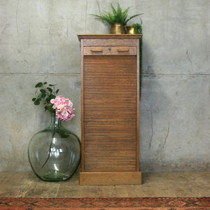 vintage_antique_oak_tambour_filing_cabinet