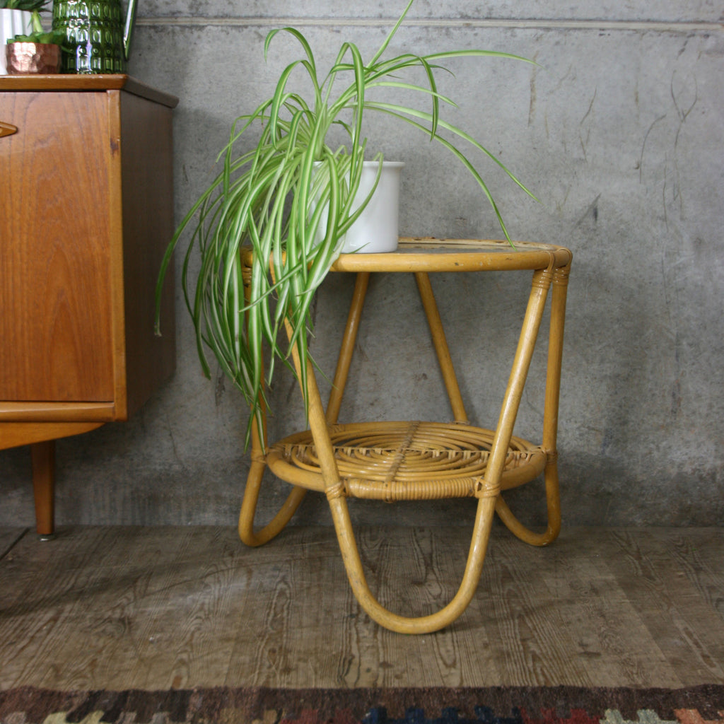 Vintage Bohemian Bamboo & Glass Side Table