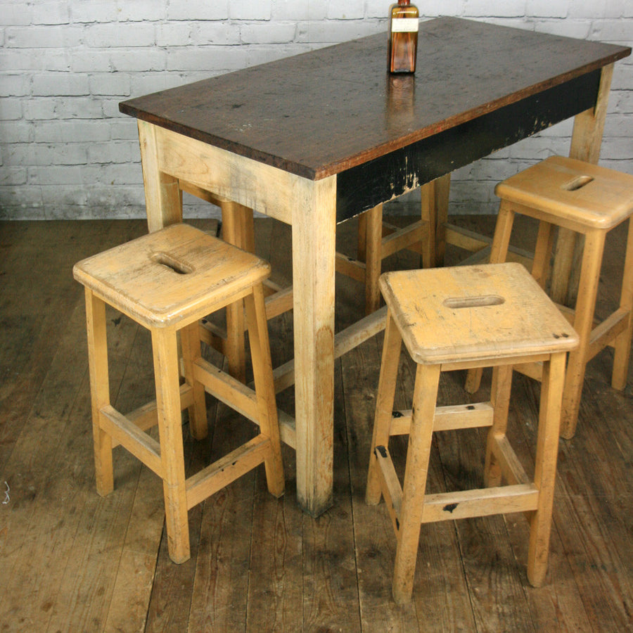 Vintage Maple School Laboratory Stools