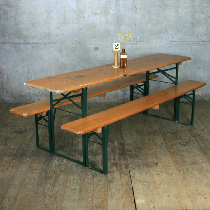 Vintage Biergarten Pine Beer Table & Benches