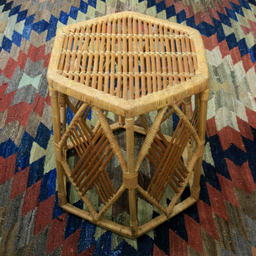 Vintage Bohemian Bamboo & Cane Side Table x 2 Available