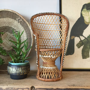 Vintage Miniature Rattan Boho Peacock Chair