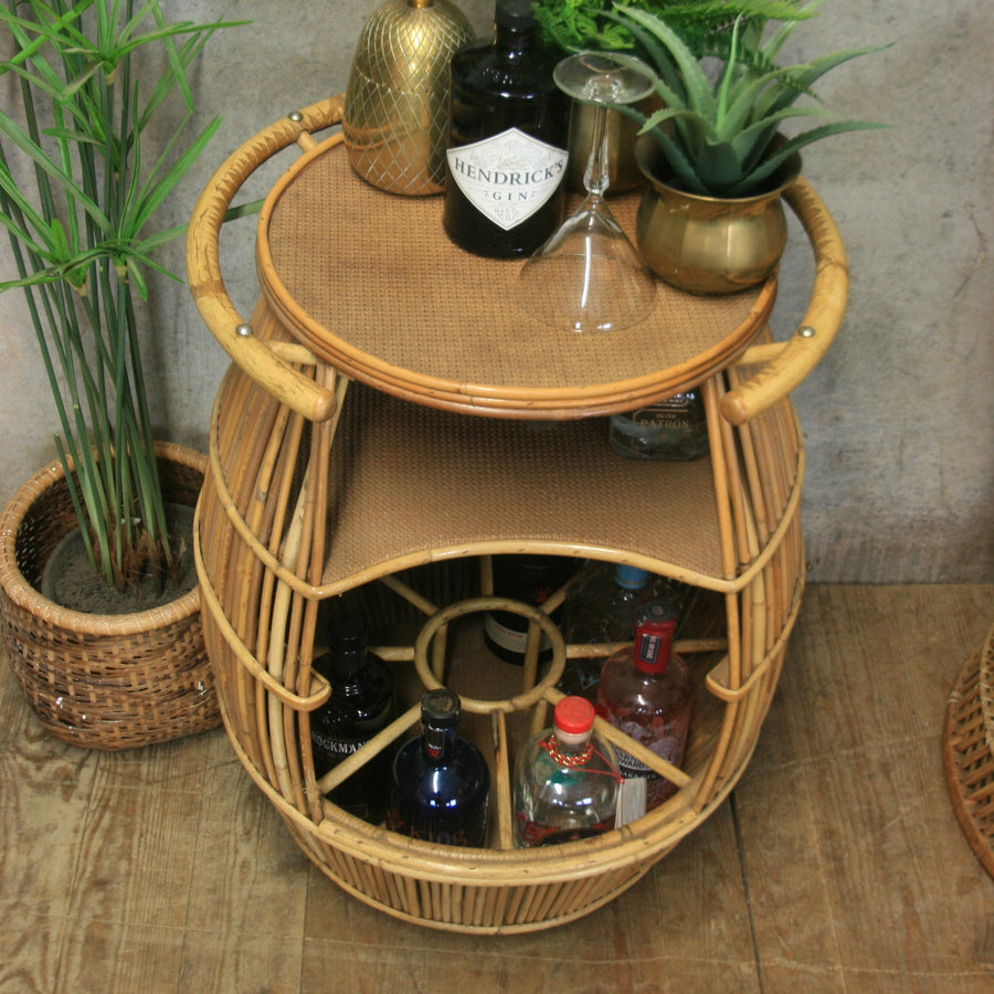 Vintage Boho Tiki Drinks Trolley Bar Cart
