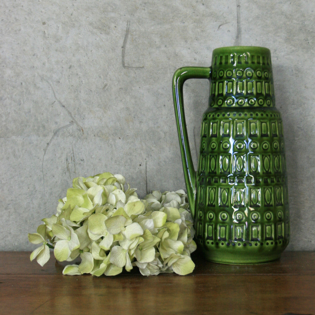 Vintage Ceramic 'Inka' Handled Vase in Green