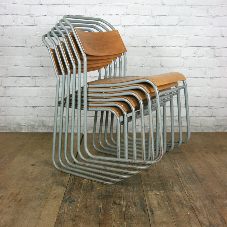 Vintage Industrial School Stacking Chairs - GREY x 1 (8 available)