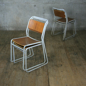 X4 Vintage Industrial School Stacking Chairs