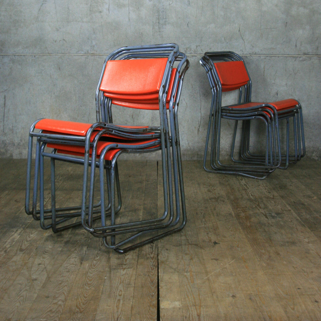 X7 Vintage Industrial School Stacking Chairs (set of seven)