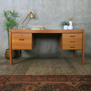 Vintage Danish Mid Century Executive Teak Desk