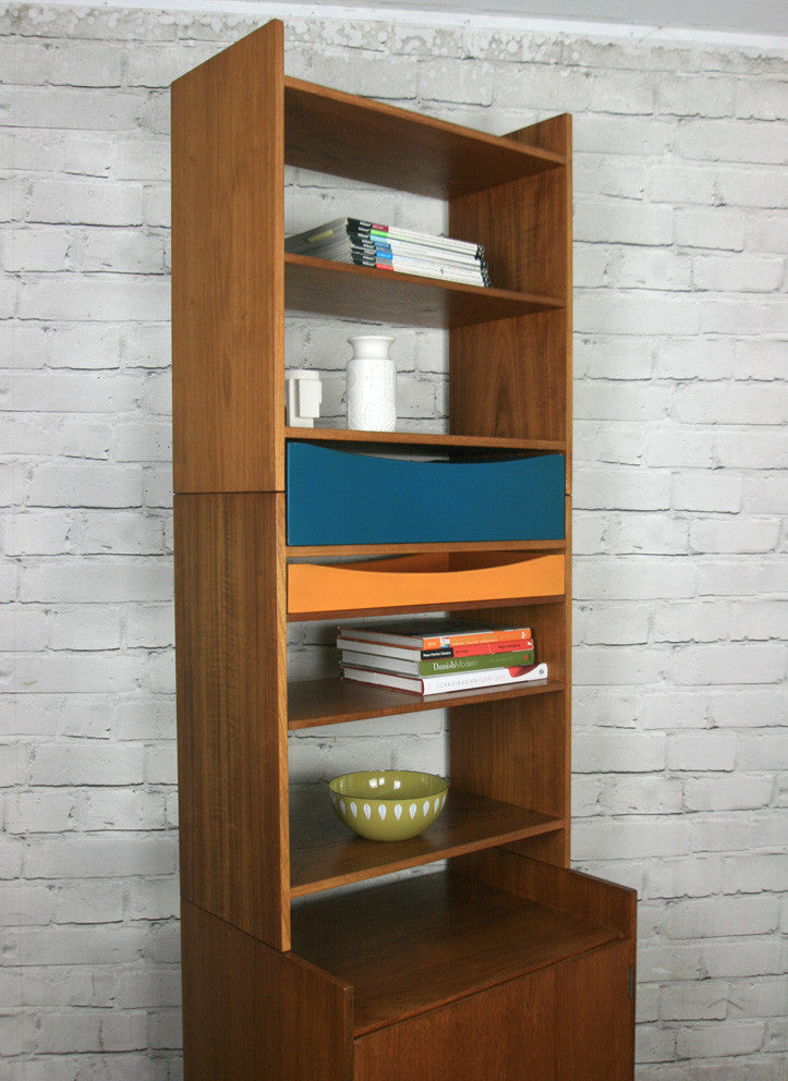 Danish Teak Modular Wall Unit Shelving #1 Blue (pair available)