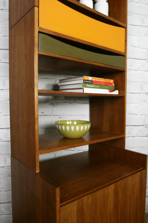 Danish Teak Modular Wall Unit Shelving #2 Orange