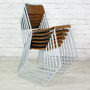 6 Vintage School Stacking Chairs