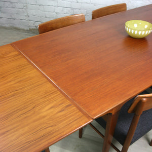 Mid Century Danish Teak Extending Draw Leaf Dining Table