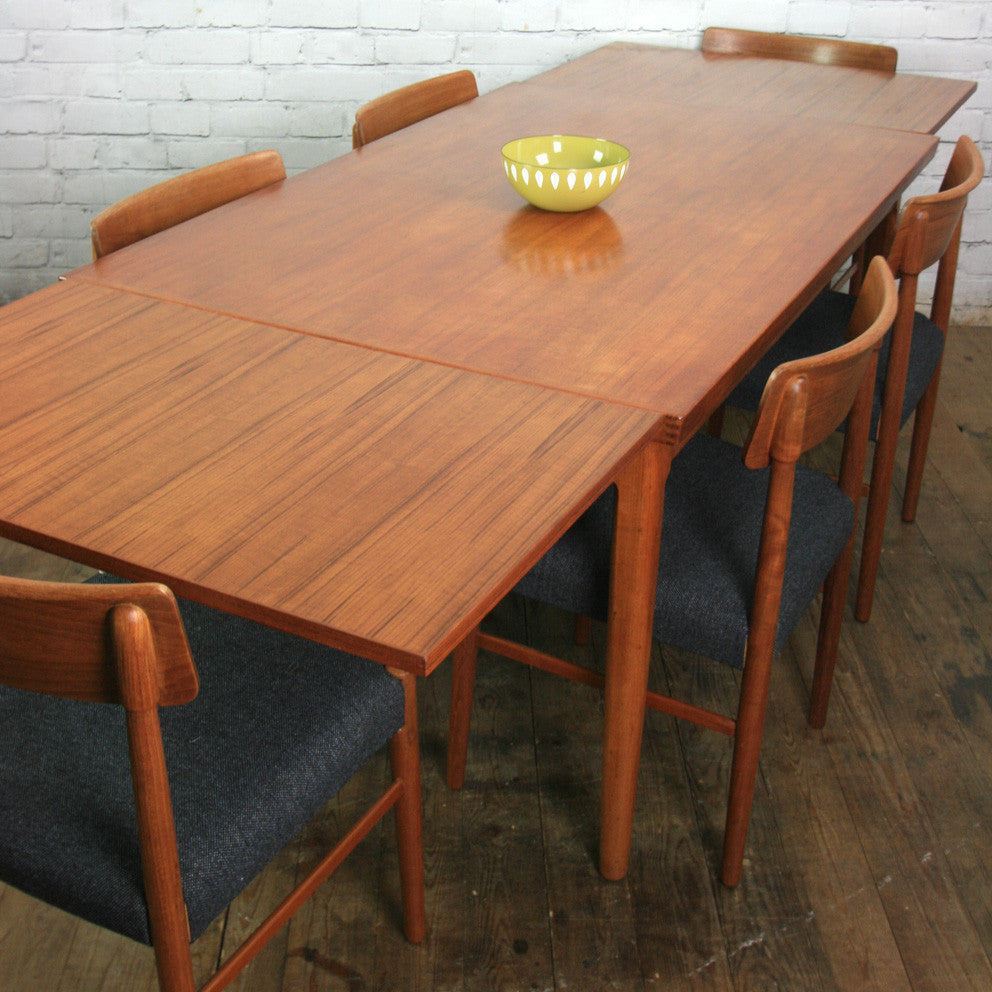 Danish Mid Century Teak Extending Draw Leaf Dining Table