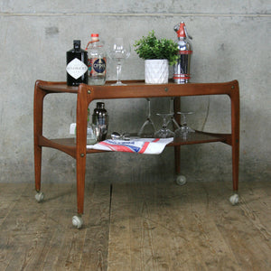 Mid Century Danish Teak Drinks Trolley Bar