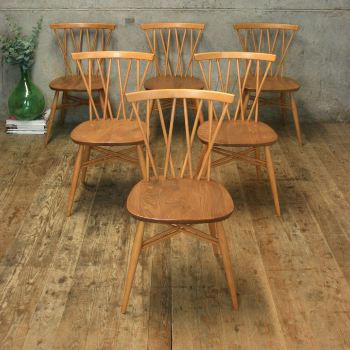 X6 Mid Century Ercol Candlestick Chiltern Chairs - 1311d
