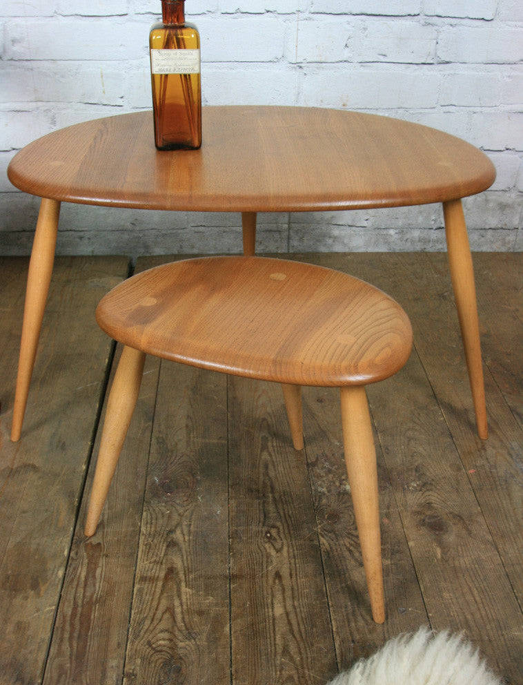 Vintage Elm & Beech Ercol Pebble Nest of Tables