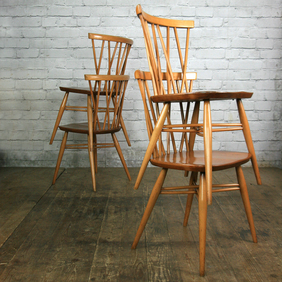 X4 Vintage Mid Century Ercol Candlestick Chiltern Chairs