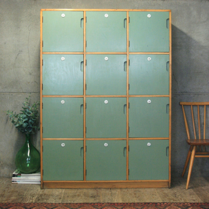 Vintage Esavian School Gym Wooden Lockers - 1206d