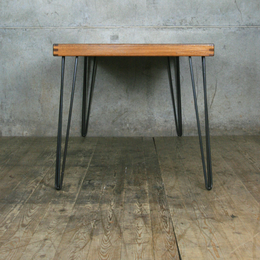 Reclaimed Teak School Table with Hairpin Legs
