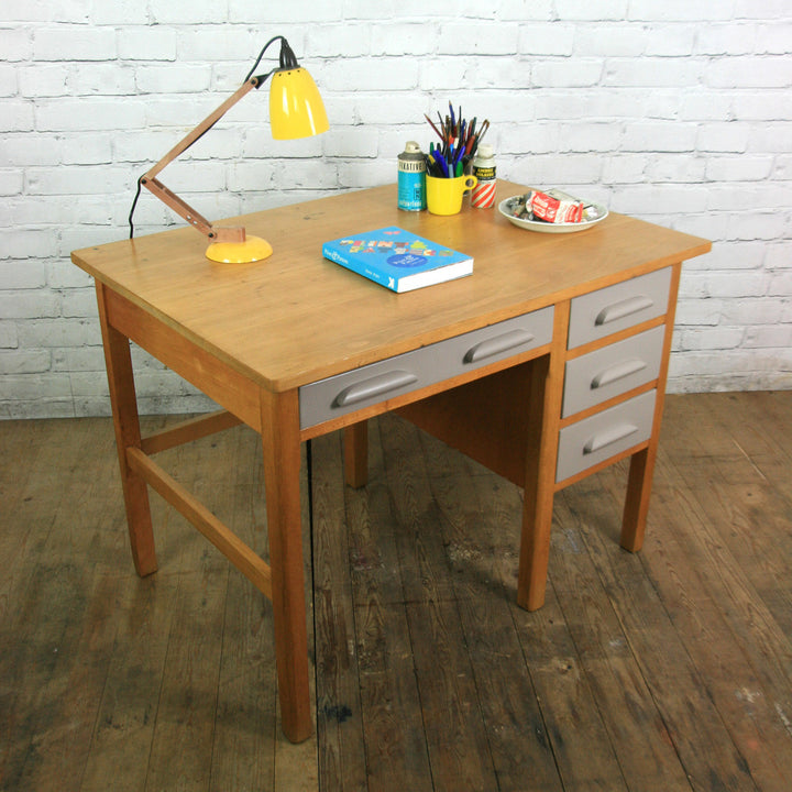 Vintage school beech rough luxe school desk