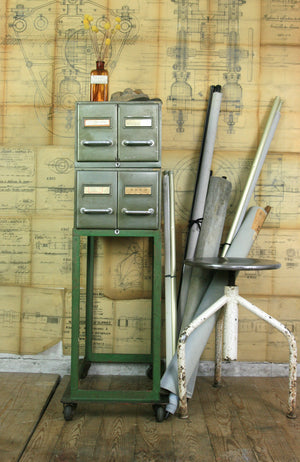 Vintage Industrial French Steel Medical Filing/Index Cabinet