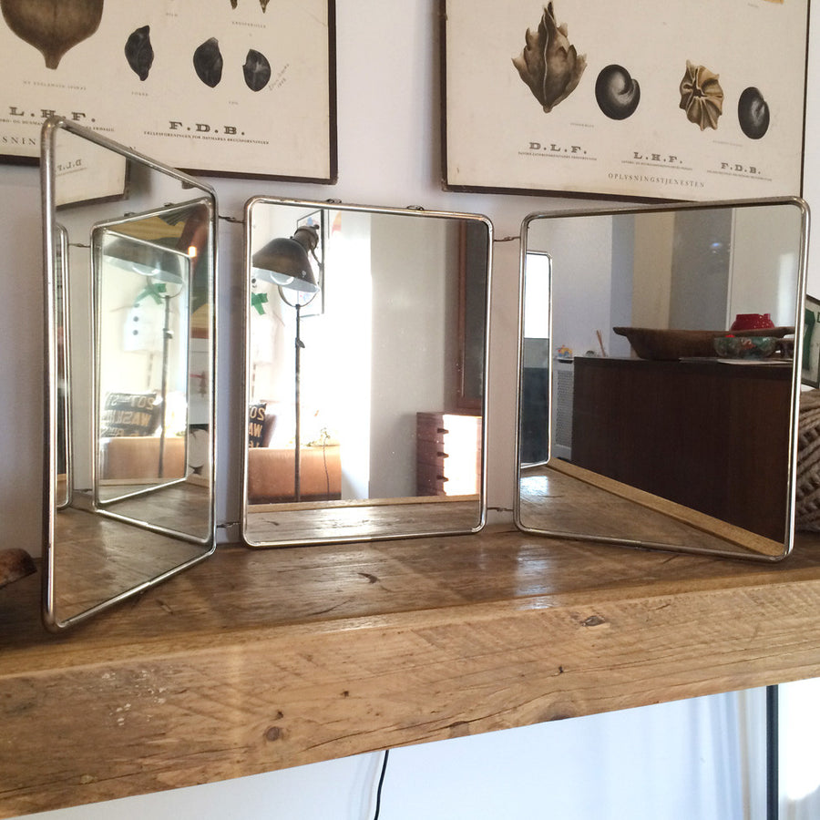 Vintage French Triptyque Tri-Fold Travel Mirror #3
