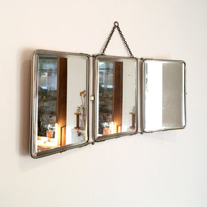 Vintage French Triptyque Tri-Fold Travel Mirror #2