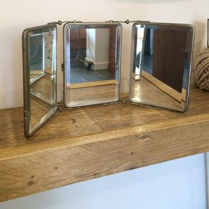 Vintage French Triptyque Folding Travel Mirror