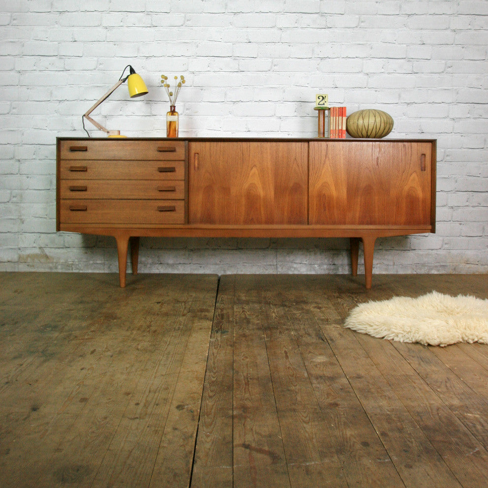 mid century e gomme g plan teak sideboard media cabinet. Black Bedroom Furniture Sets. Home Design Ideas