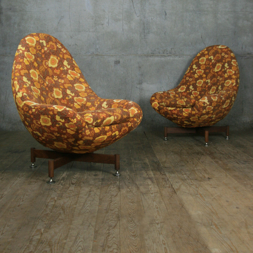 Mid Century Swivel Egg Chair (prop Use)   Pair Available