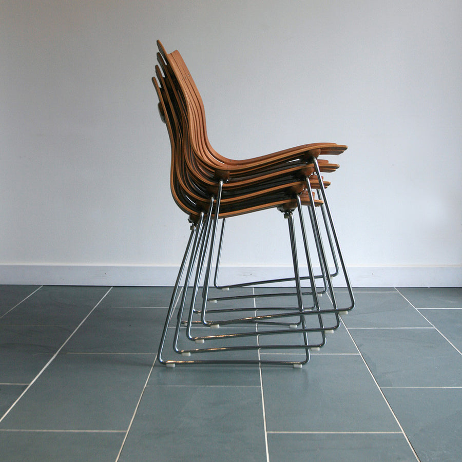 X4 Hans Brattrud Mid Century Scandia Stacking Chairs
