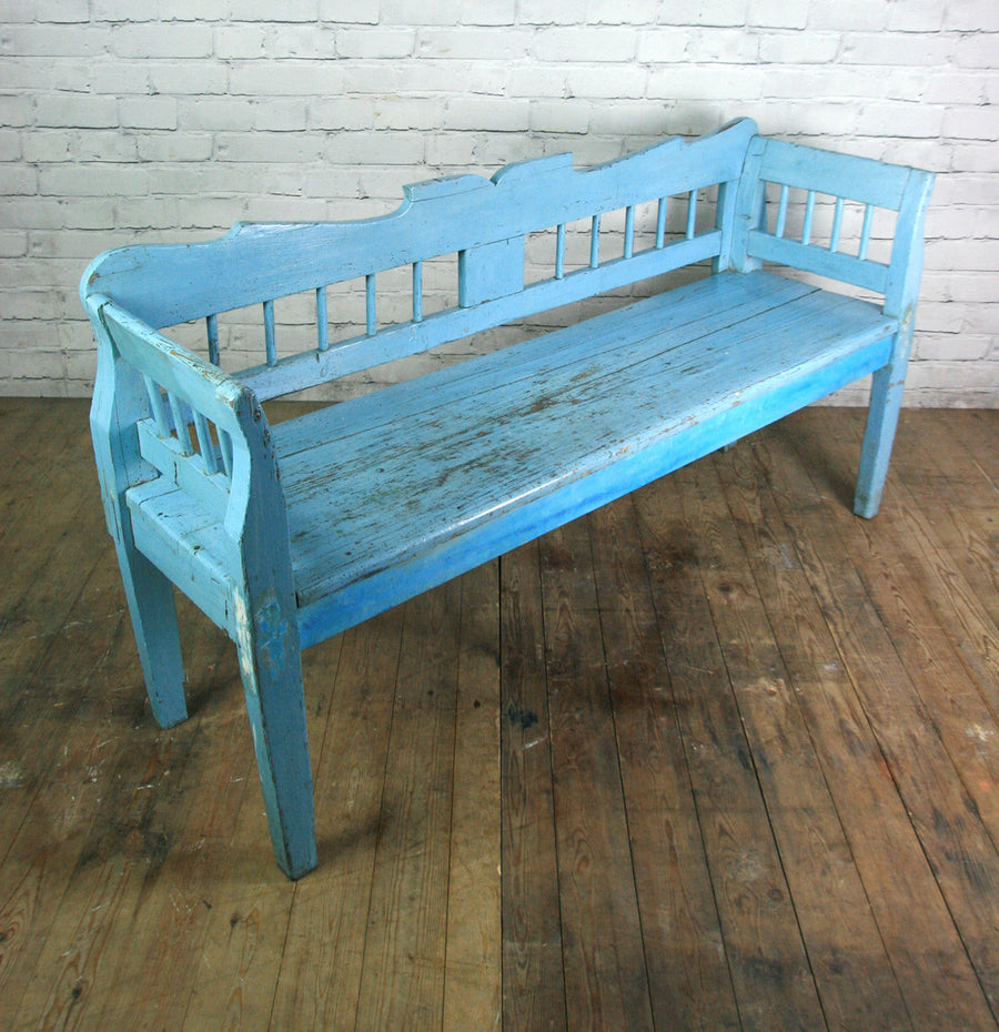 Vintage Hungarian Painted Rustic Country Settle Bench