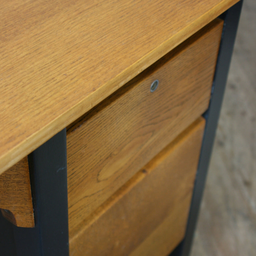 Mid Century Oak Painted School Desk