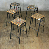 X5 Vintage Art Department Stacking Stools
