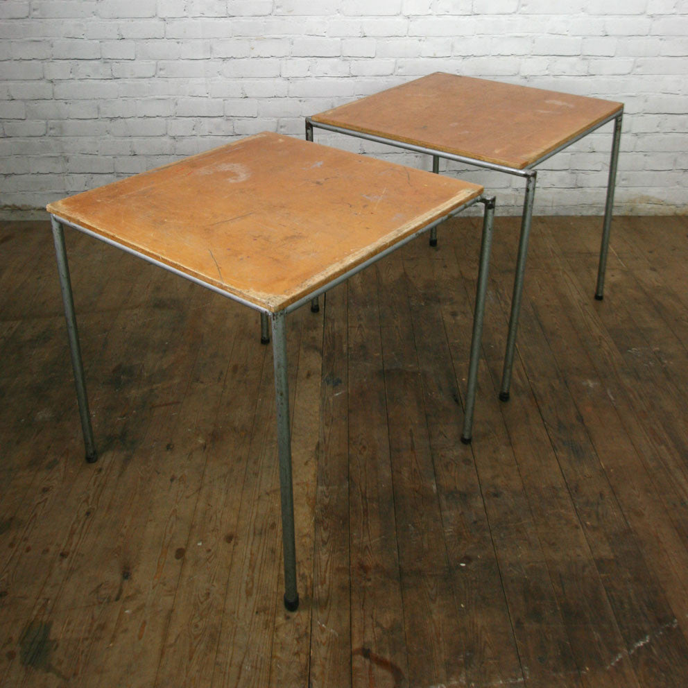 Incroyable Vintage Industrial School Cafe Stacking Tables