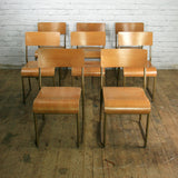 10 Vintage Industrial School Stacking Chairs
