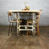 Reclaimed Cast Iron Industrial Dining Table - Retail / Shop Display.